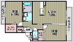 大阪府大阪狭山市半田1丁目の賃貸アパートの間取り