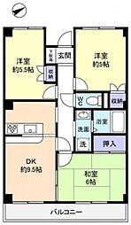カンスタント八千代[3階]の間取り
