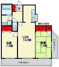 パライーゾ南福岡[4階]の間取り