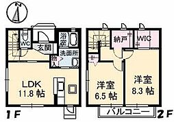 広島県安芸郡府中町桃山2丁目の賃貸アパートの間取り