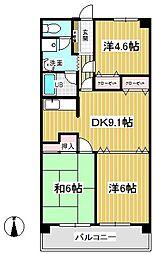 清水山第2パークハイツ[5階]の間取り