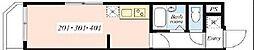 EBISU PARKSIDE HILLS 2階1Kの間取り