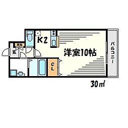 ダイワール武庫川 3階ワンルームの間取り