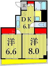東京メトロ日比谷線 入谷駅 徒歩4分の賃貸マンション 7階2DKの間取り