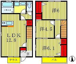 [テラスハウス] 千葉県松戸市松飛台 の賃貸【千葉県 / 松戸市】の間取り