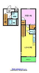 スリーハーブズ狭山1番館 2階1LDKの間取り