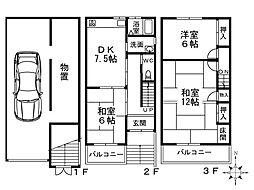 [一戸建] 大阪府大阪市西成区天下茶屋東2丁目 の賃貸【/】の間取り