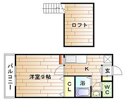 福岡県宗像市赤間5丁目の賃貸アパートの間取り
