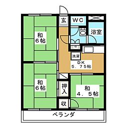 ハイツ富沢[3階]の間取り