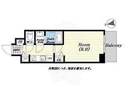 ディクス福島レジデンス 7階1Kの間取り