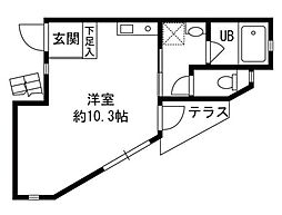 東京都江戸川区平井5丁目の賃貸アパートの間取り