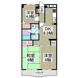 グリーンタウン鶴ヶ島[303号室]の間取り