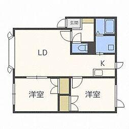 ラポート新札幌A[2階]の間取り