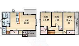 北大阪急行電鉄 桃山台駅 徒歩18分の賃貸一戸建て 2階3LDKの間取り
