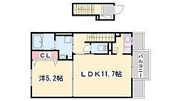 JR姫新線 本竜野駅 徒歩19分の賃貸アパート 2階1LDKの間取り