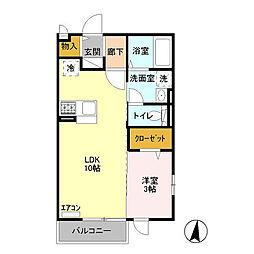 シャルメゾン C棟[2階]の間取り