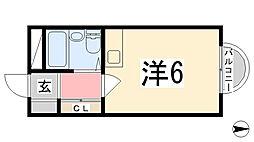 カルム白鷺[414号室]の間取り