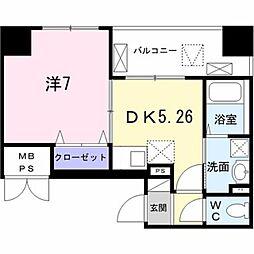 東京メトロ日比谷線 築地駅 徒歩8分の賃貸マンション 8階1DKの間取り