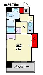 古船場タカヤコーポレーションビル 5階1Kの間取り
