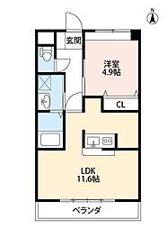 福岡県北九州市小倉南区上曽根3丁目の賃貸アパートの間取り