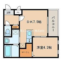 西鉄天神大牟田線 西鉄久留米駅 徒歩7分の賃貸アパート 2階1DKの間取り