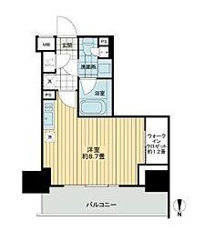 JR山手線 浜松町駅 徒歩9分の賃貸マンション 12階ワンルームの間取り