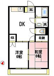 サンライズKB[4階]の間取り