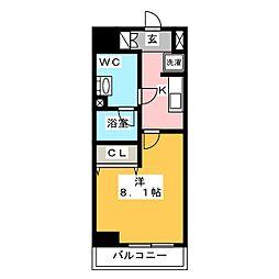 ジェノヴィア東神田グリーンヴェール 11階1Kの間取り