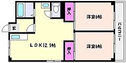 兵庫県神戸市東灘区森北町6丁目の賃貸マンションの間取り