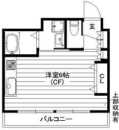 ハピネス三宿 1階ワンルームの間取り