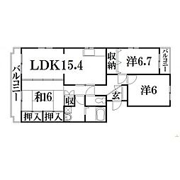 静岡県浜松市南区三島町の賃貸マンションの間取り