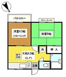 神奈川県横浜市保土ケ谷区新桜ケ丘2丁目の賃貸アパートの間取り
