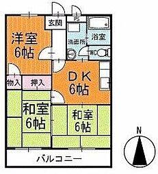 サンパール脇田C棟 2階[203号室]の間取り