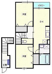 新潟県新潟市北区西名目所の賃貸アパートの間取り
