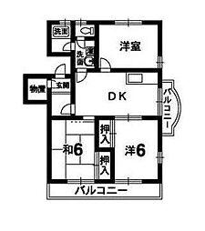 四宮ハイツ[201号室]の間取り
