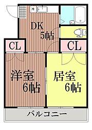 東京都大田区中央5丁目の賃貸アパートの間取り