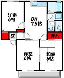 福岡県遠賀郡芦屋町大字山鹿の賃貸アパートの間取り