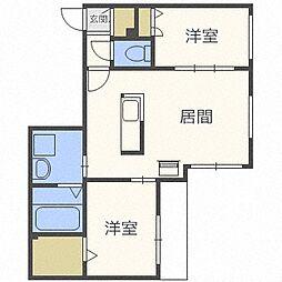 北海道札幌市中央区南十三条西13丁目の賃貸マンションの間取り