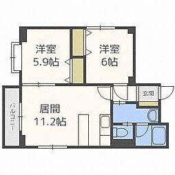北海道札幌市中央区南十八条西17丁目の賃貸マンションの間取り