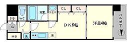 S-RESIDENCE淀屋橋 9階1DKの間取り
