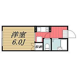 JR成田線 酒々井駅 徒歩6分の賃貸アパート 1階1Kの間取り