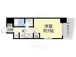 阪神なんば線 桜川駅 徒歩1分の賃貸マンション 7階1Kの間取り