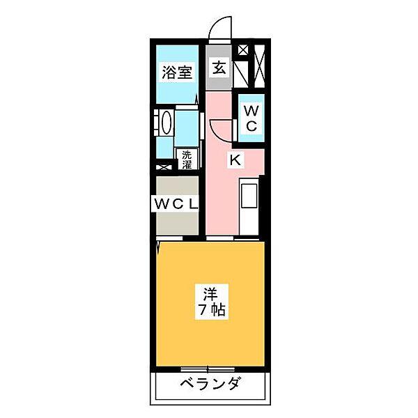 愛知県岡崎市舳越町字朝倉の賃貸アパートの間取り