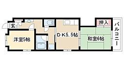 愛知県名古屋市緑区鳴海町字花井町の賃貸マンションの間取り