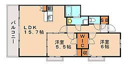 福岡県大野城市乙金3丁目の賃貸マンションの間取り