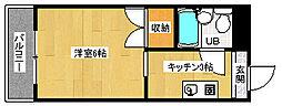 京都府京都市下京区西七条赤社町の賃貸マンションの間取り