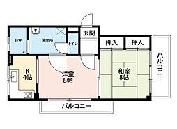 第三喜久田マンション[4階]の間取り