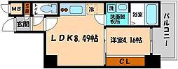 AVERE京阪本通 5階1LDKの間取り