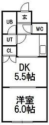 ビッグバーンズマンション菊水[4階]の間取り