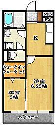 ブランシュールB[2階]の間取り